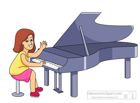 Classroom musical instruments girl playing piano clipart image 3