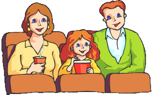 Family watching movie clipart