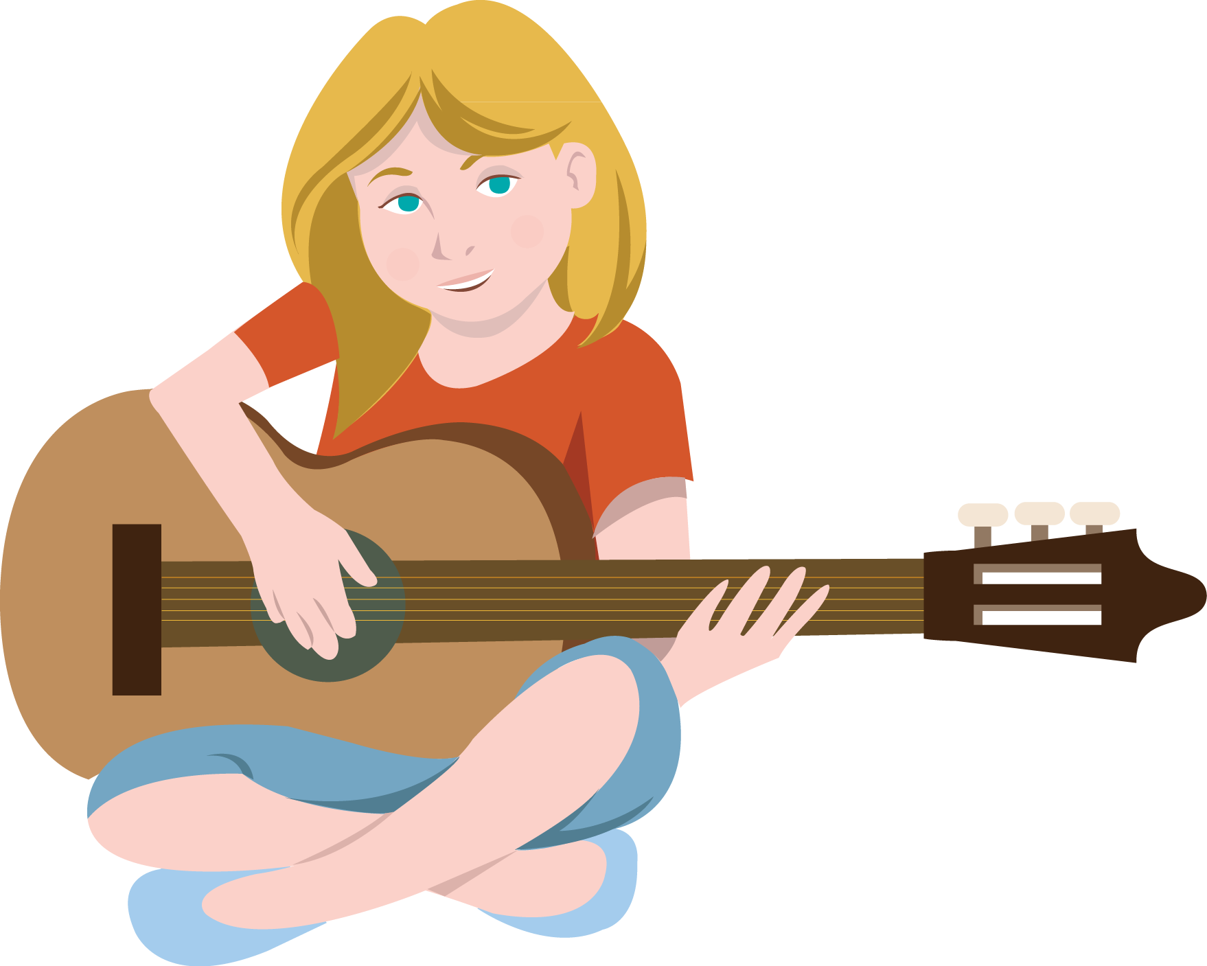 Female guitar clipart