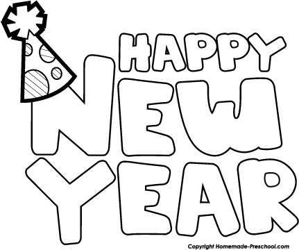 Happy new year clipart black and white
