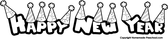 Happy new year new year 6 black and white clipart clipart kid 2