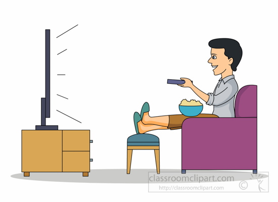 Entertainment man relaxing watching tv clipart 2