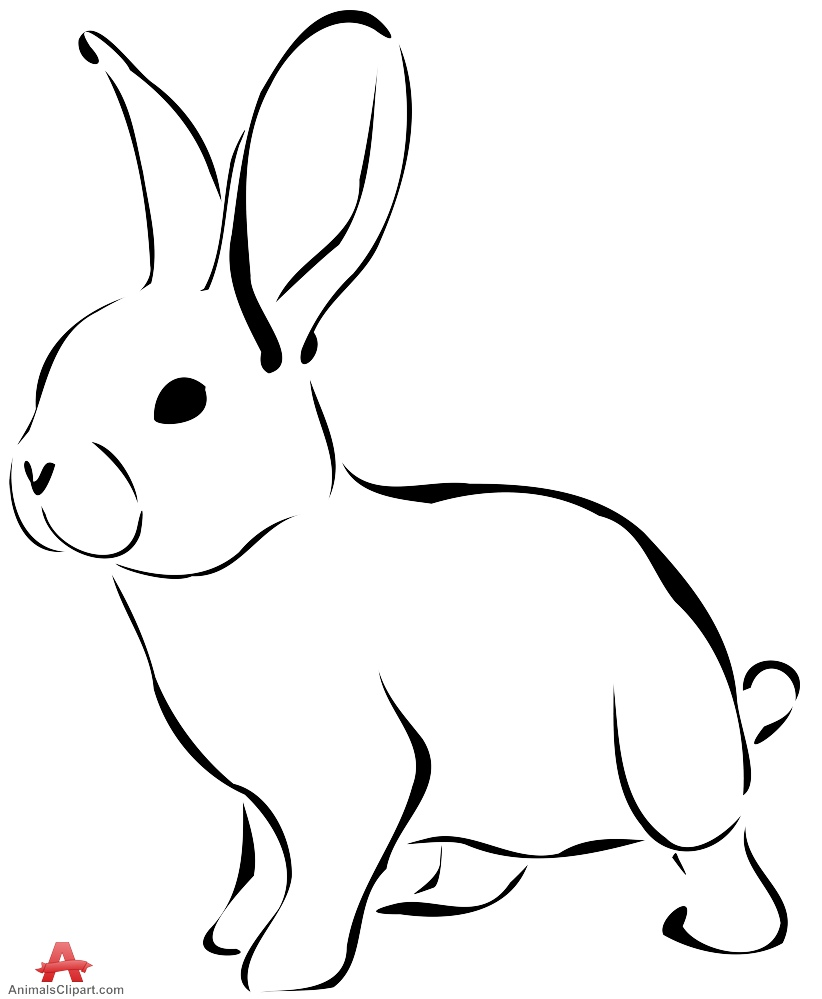 Rabbit clipart outline in black and white free clipart design
