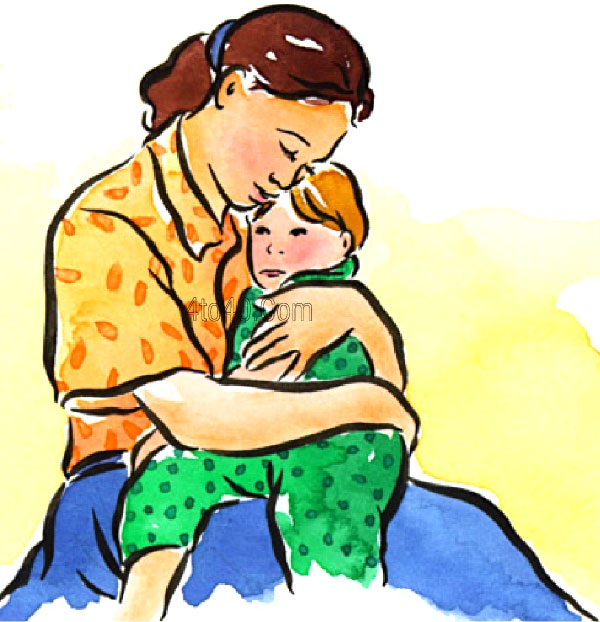 Hugging mom clipart