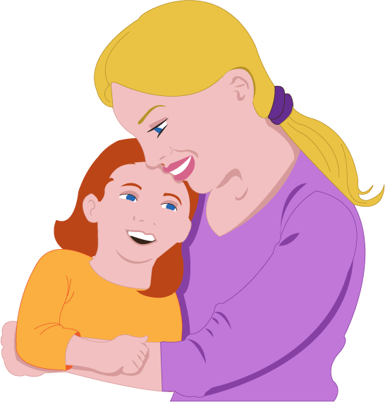 Mom and daughter clipart kid