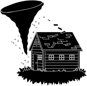 Tornado clipart image bearing down on and doing damage