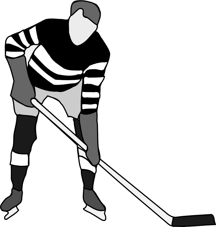 Hockey black and white clipart kid