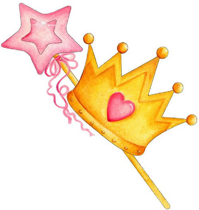 Princess tiara and wand clipart kid