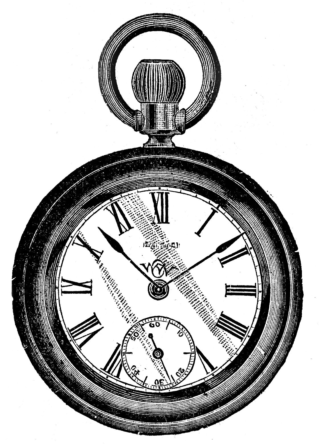 Vintage clip art antique pocket watch the graphics fairy