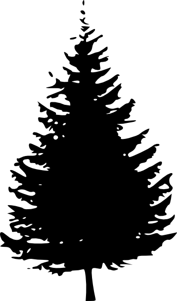 Black and white pine tree clipart free