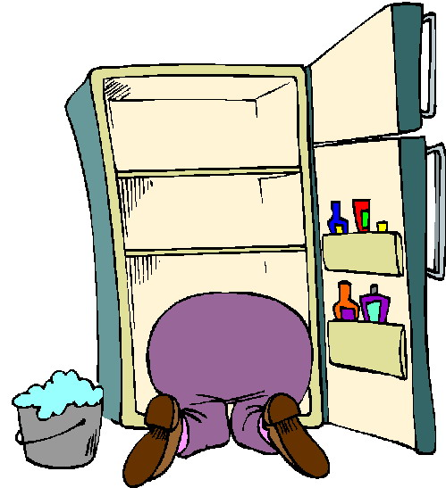 Cleaning refrigerator smelly clipart kid