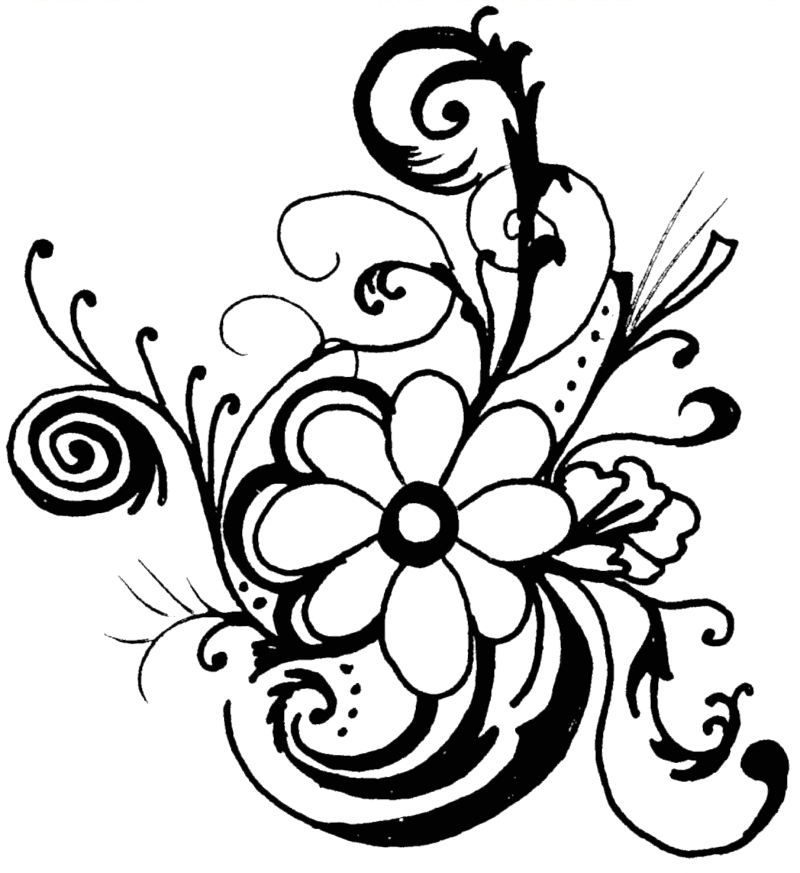 Flower  black and white flower black and white flower clipart 4 image