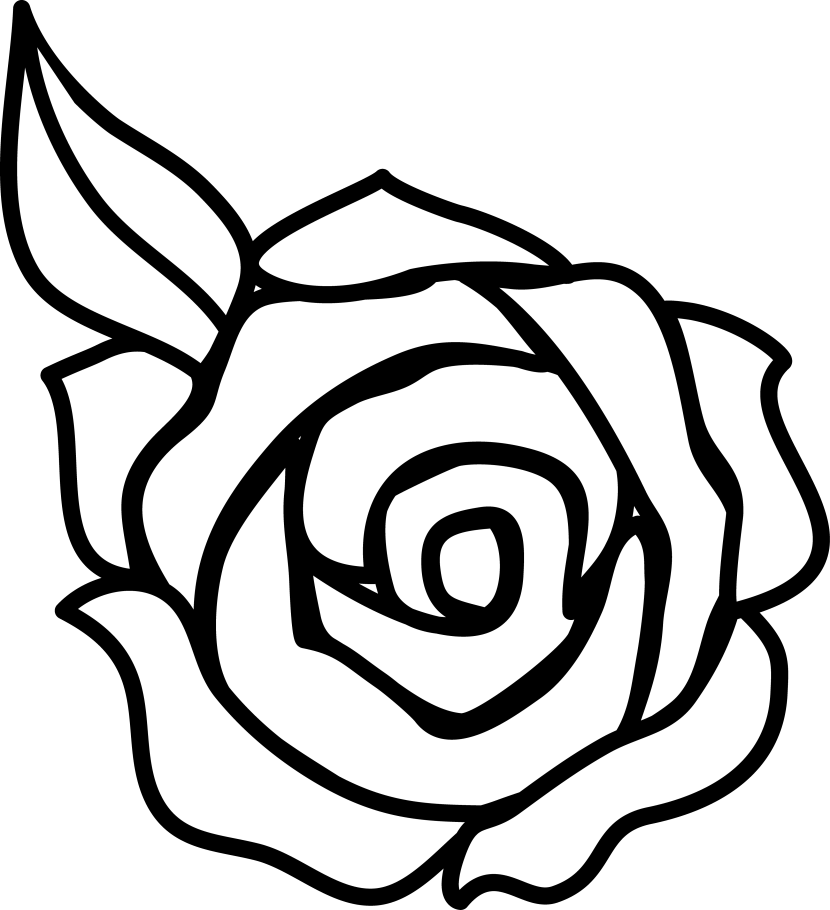 Flower  black and white rose flower clipart black and white