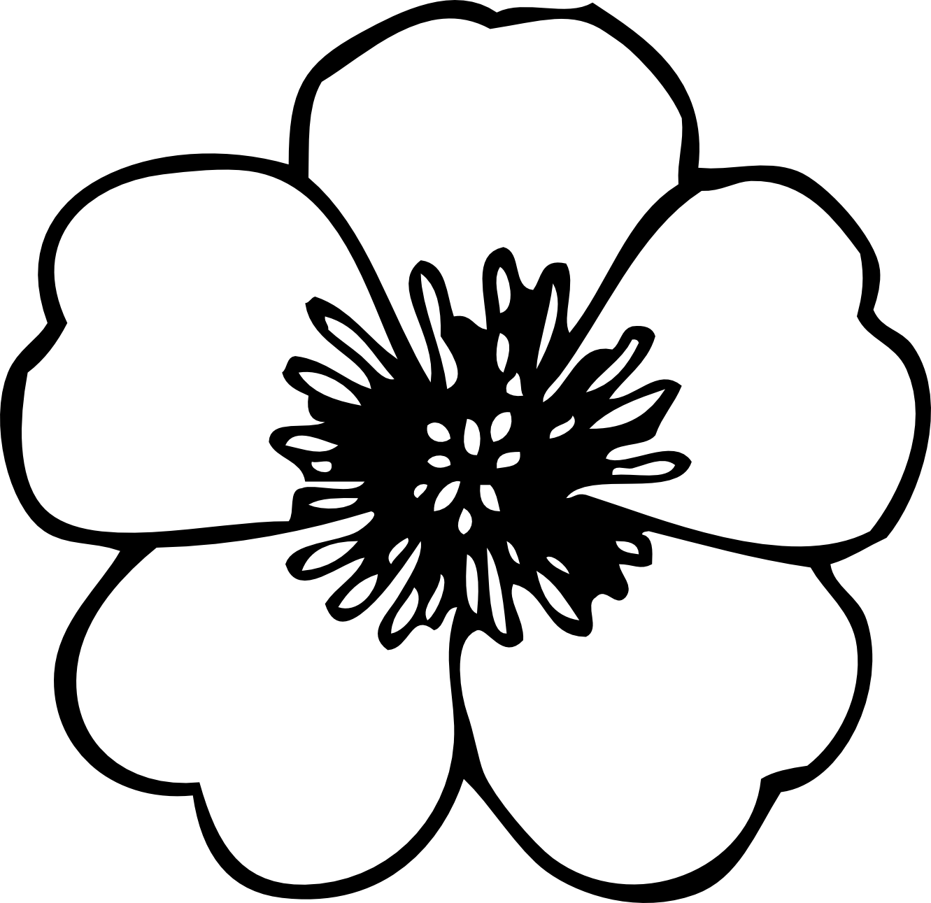 Flower  black and white simple flower clipart black and white free