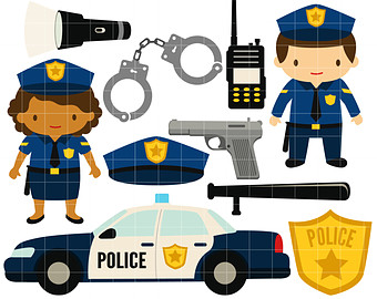 Personalized police officer badge clipart kid