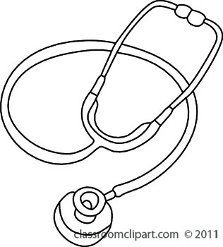 Stethoscope free black and white health outline clipart clip art