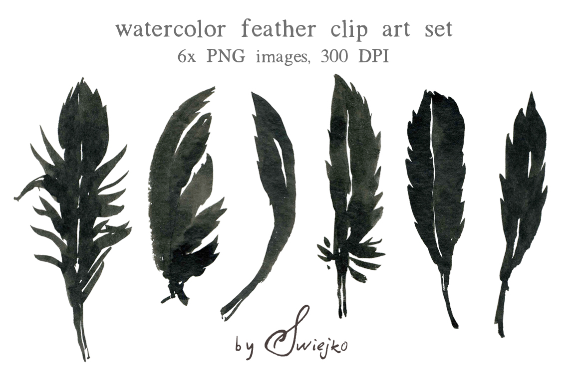 Watercolour clipart halloween feather silhouette