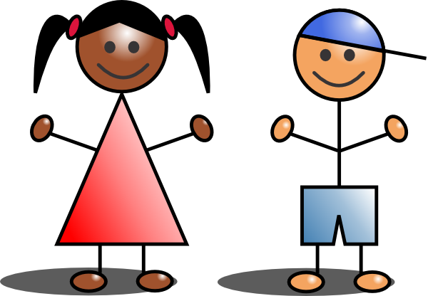 Kids stick figures clip art at vector clip art