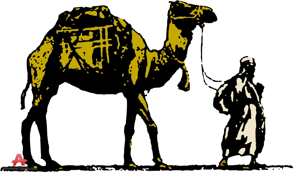 Man and his camel clipart free design download