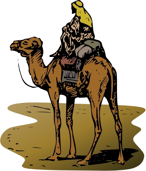 Person riding camel clip art free vector in open office drawing