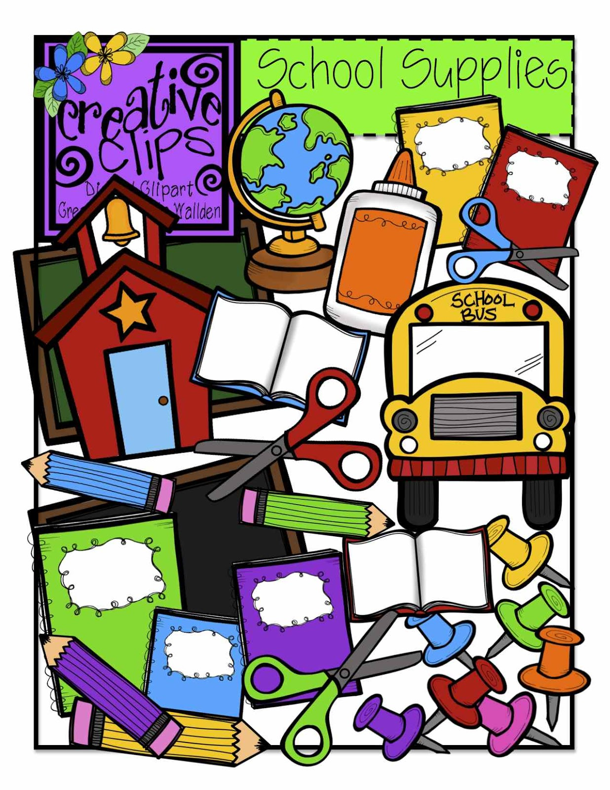 School supplies school supply giveaway clipart clipartfest
