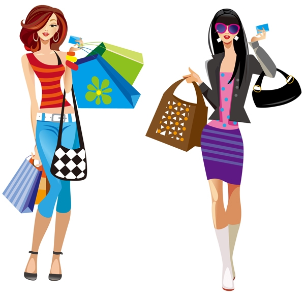 Girl shopping clipart