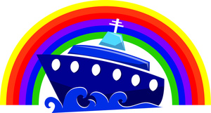 Free cruise ship clip art image sailing under a rainbow
