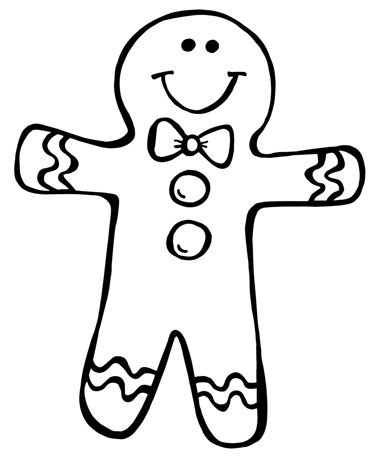 Gingerbread man black and white clipart kid