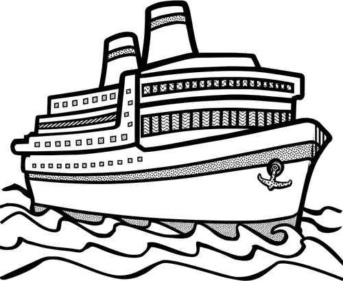 Line art vector drawing of large cruise ship maritimt clipart