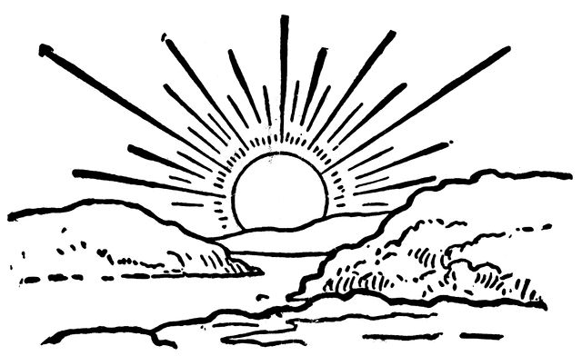 Sun  black and white afternoon sun clipart black and white clipartfest