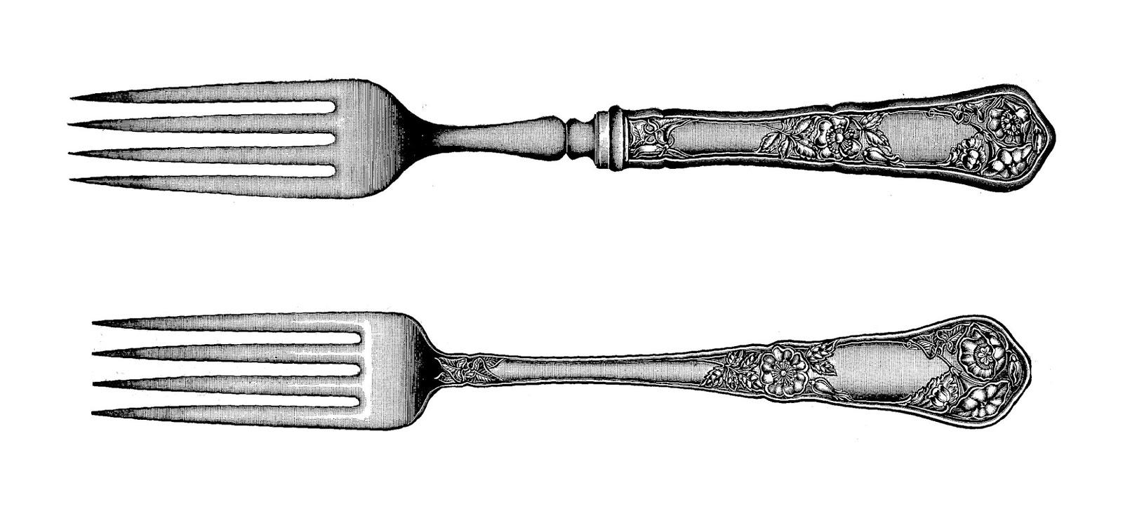 Vintage fork clipart kid