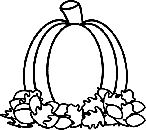 Pumpkin  black and white pumpkin with fall leaves clipart black and white clipartfest