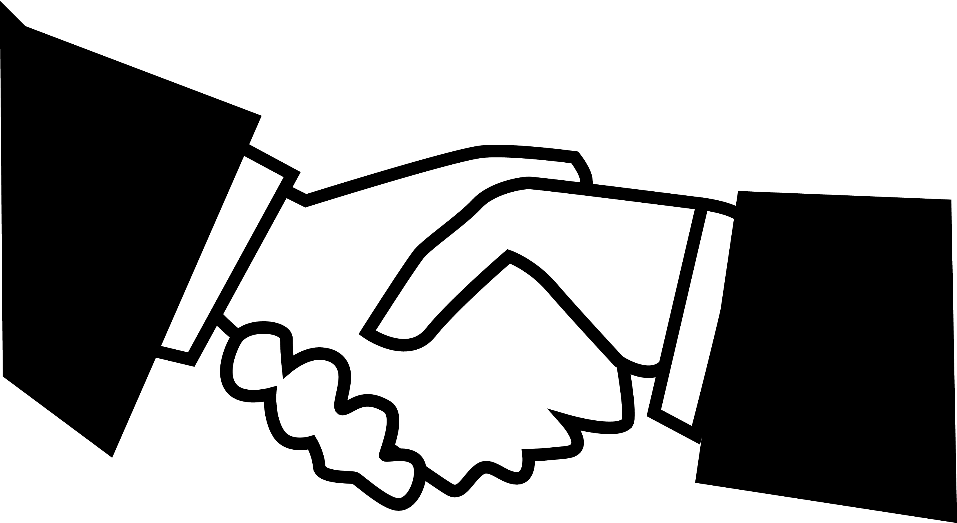 Black white handshake clipart kid 3 clipartix