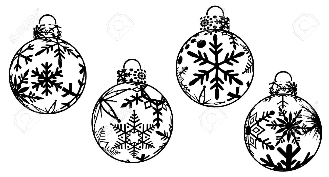 Christmas ornament black and white christmas clipart
