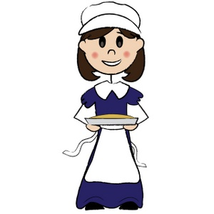 Cornbread clipart image a pilgrim woman with short brown hair