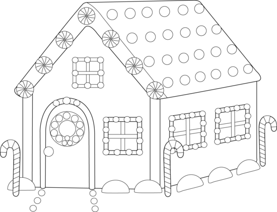Gingerbread houseloring page free clip art