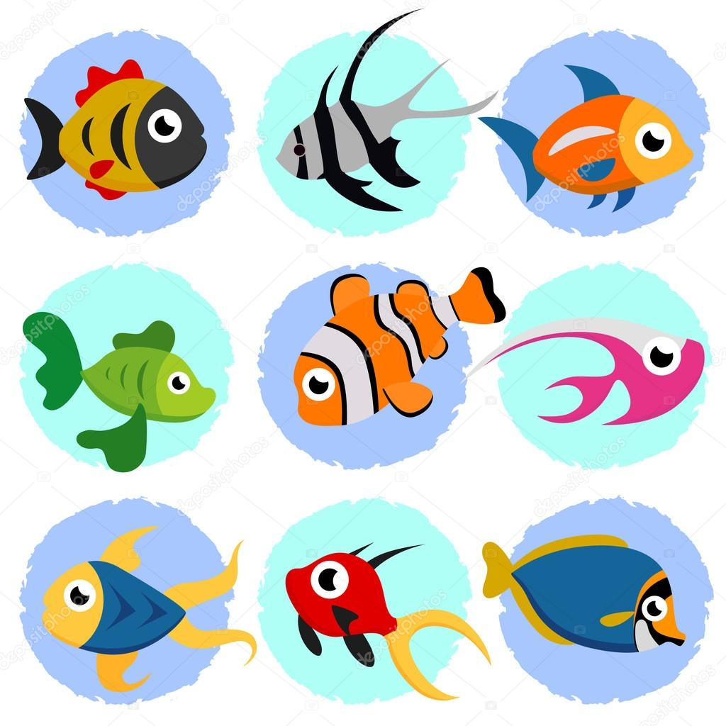 Cartoon fish set stock vector bogalo jpg