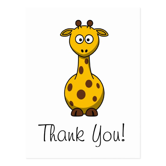 Cute cartoon giraffe thank you card jpg