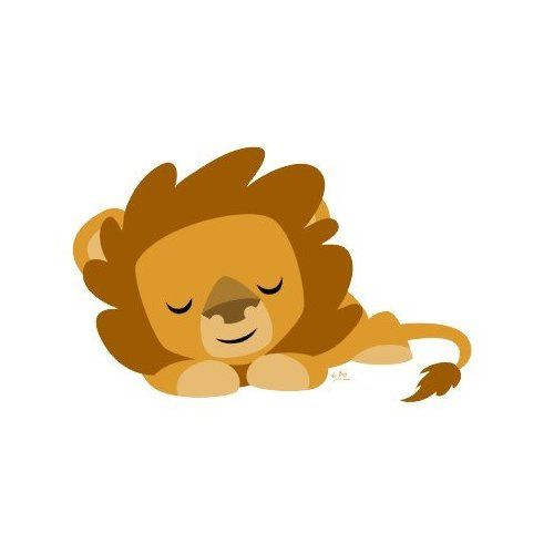 Sleeping cartoon lion round sticker everything else agust jpg