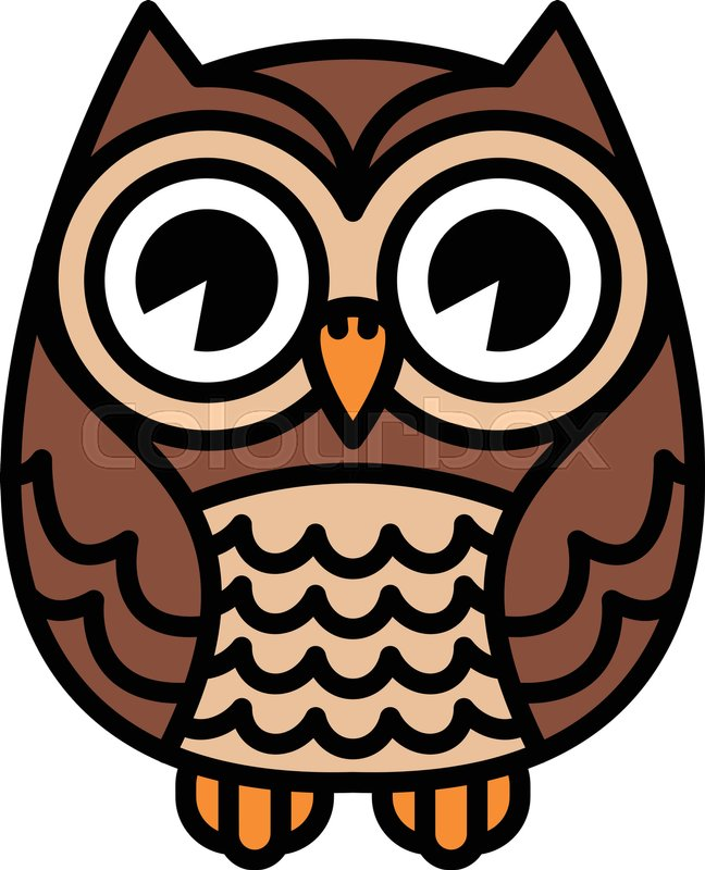 Cute cartoon owl bird with big eyes in sitting position stock jpg