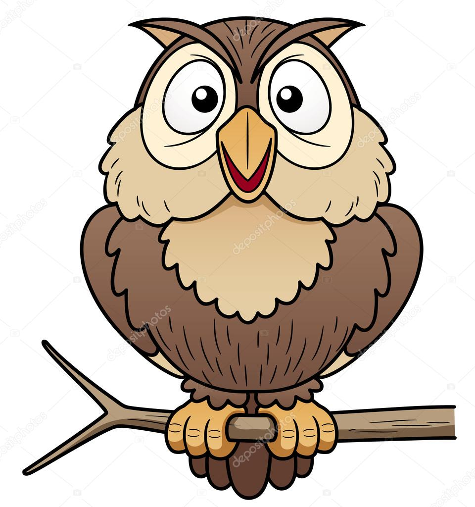Cartoon owl sitting on tree branch stock vector sararoom jpg