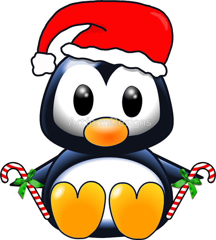 cartoon penguin Cute cartoon christmas penguin stickers by artformdesigns redbubble jpg
