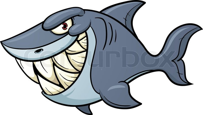 Evil cartoon shark vector illustration with simple gradients all jpg