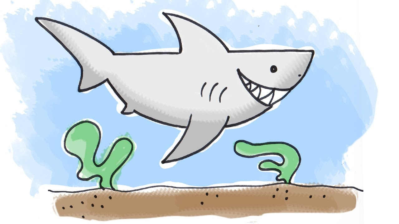 How to draw a cartoon shark youtube jpg