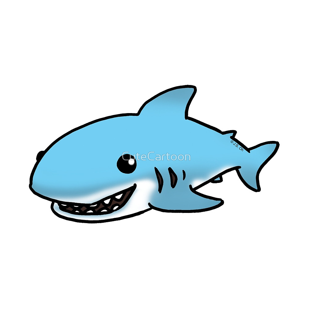 cartoon shark Cute blue shark cartoon by cutecartoon redbubble jpg