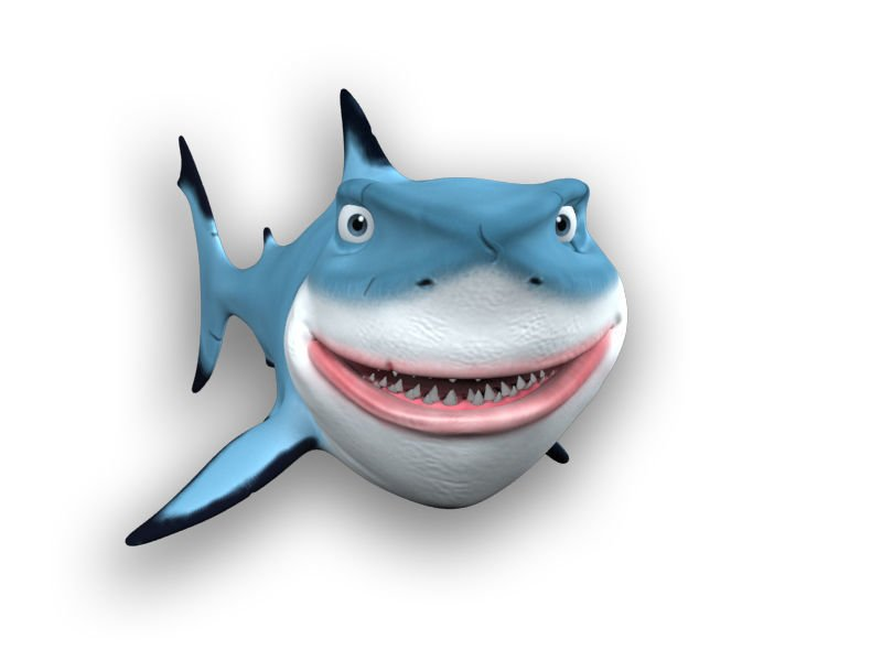 Cartoon shark 3d model in aquatic 3dexport jpg