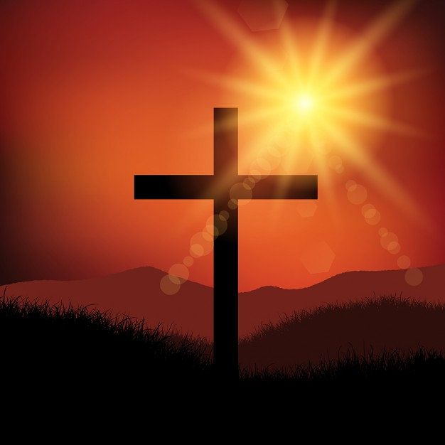 cross picture Good friday easter landscape with cross vector free download jpg