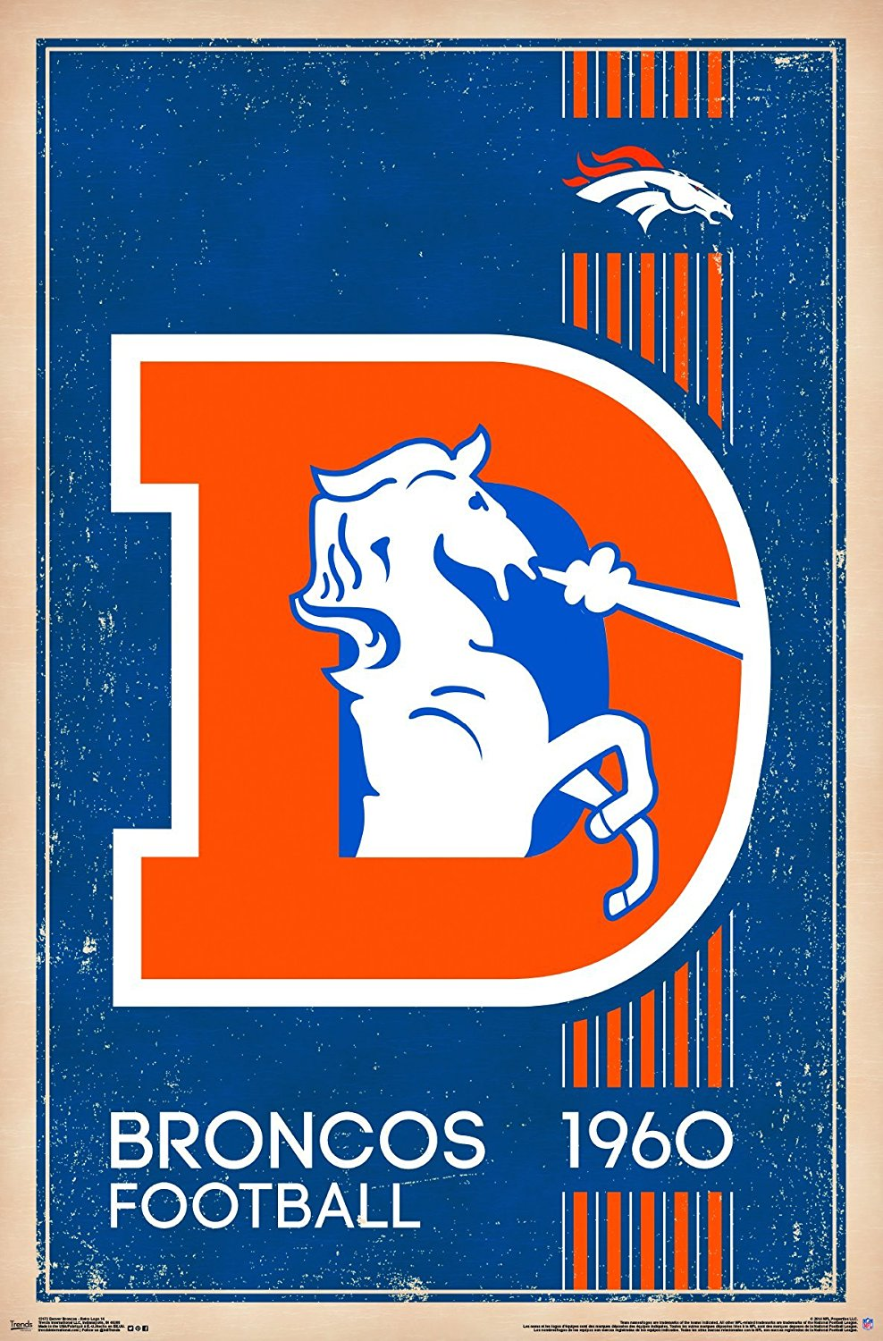 denver broncos logo Trends international denver broncos retro logo wall jpg
