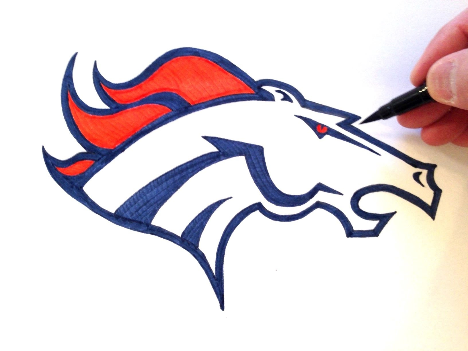 How to draw the denver broncos logo freehand youtube jpg