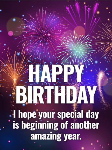 Purple fireworks happy birthday card  png